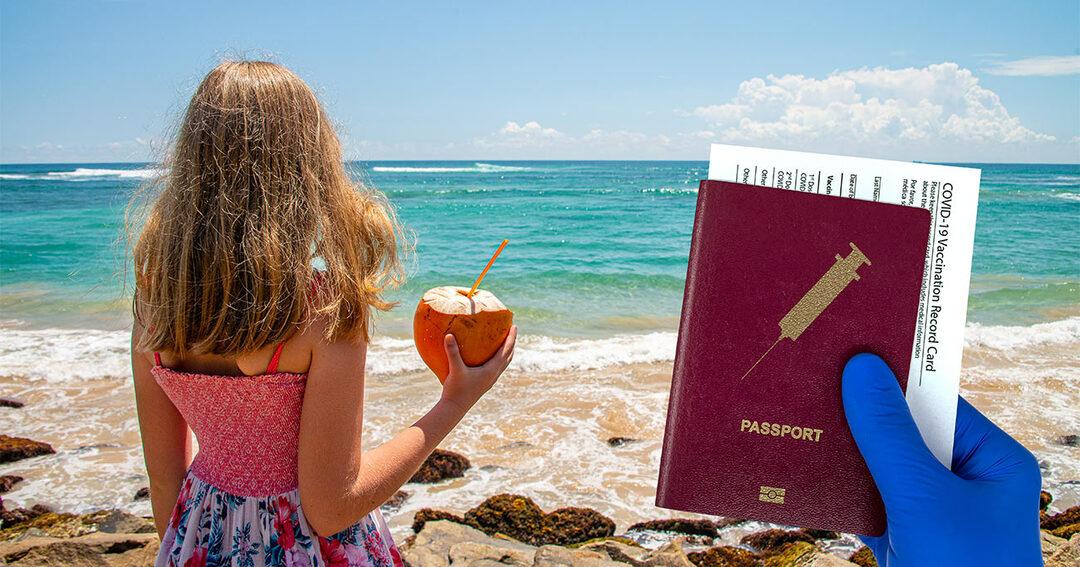写真:パスポートと予防接種証明書を持っている人の手