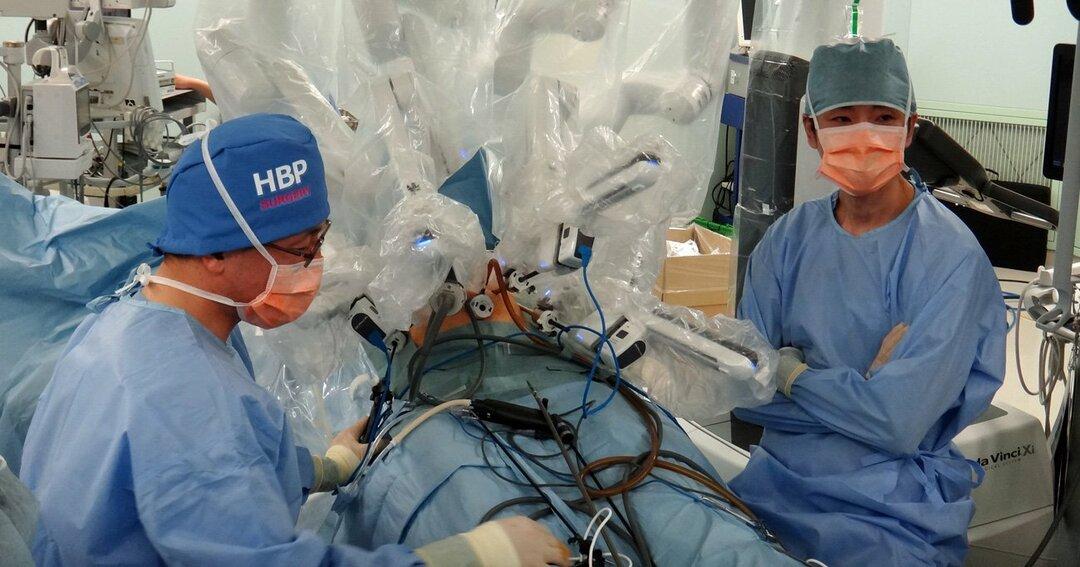 三澤医師による手術支援ロボット「ダヴィンチ」での膵臓手術の様子