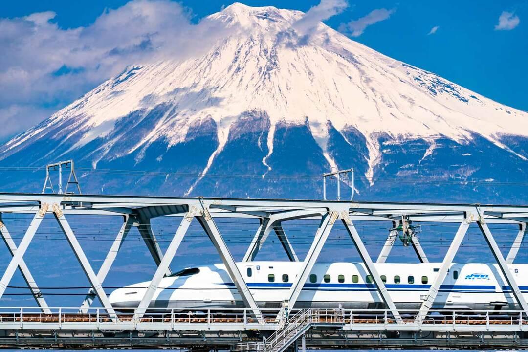 富士山と東海道新幹線「N700系」