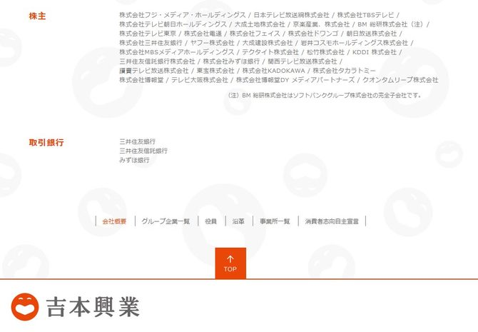 吉本興業ホールディングスの株主一覧。在京キー局5社すべてが含まれる