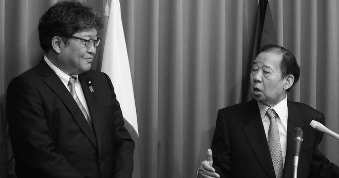 記者会見する自民党幹事長の二階俊博