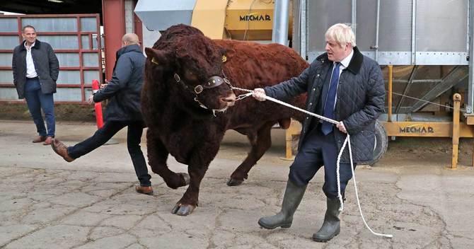 スコットランドのアバディーンの牧場を訪問したジョンソン首相