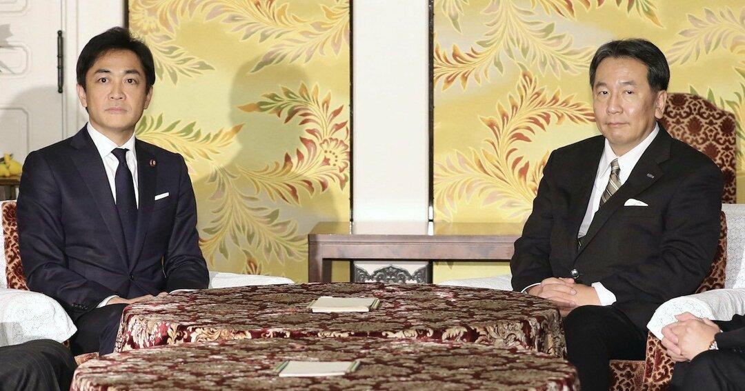 立憲民主党の枝野幸男代表と国民民主党の玉木雄一郎代表
