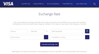 Visaの「Exchange rate」