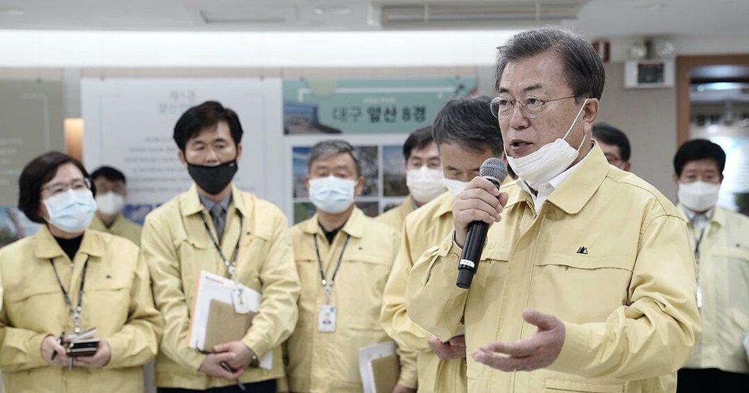 新型肺炎に対応する韓国の文在寅大統領