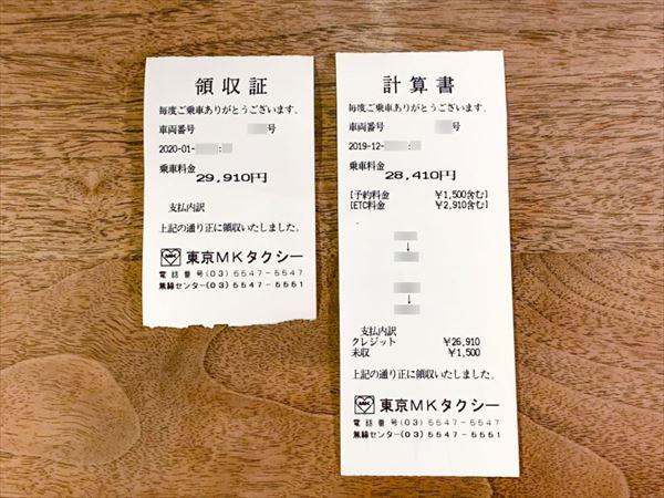 東京MKタクシーの領収証