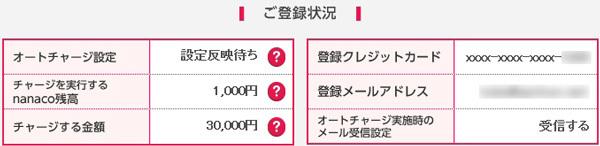nanacoクレジットチャージ画面