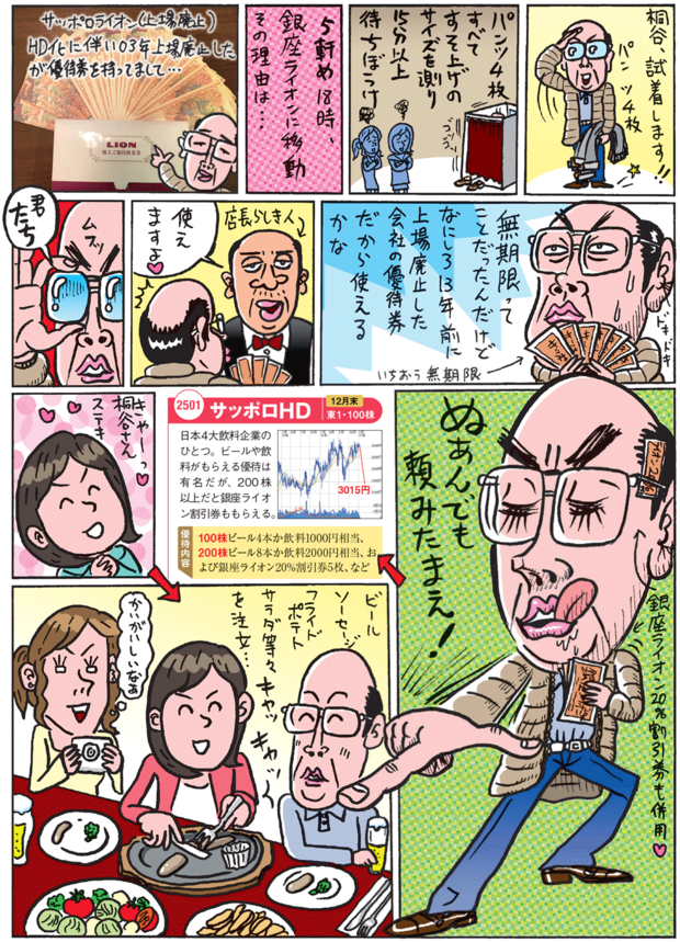 上場廃止になったサッポロライオンの株主優待券を使う桐谷さん