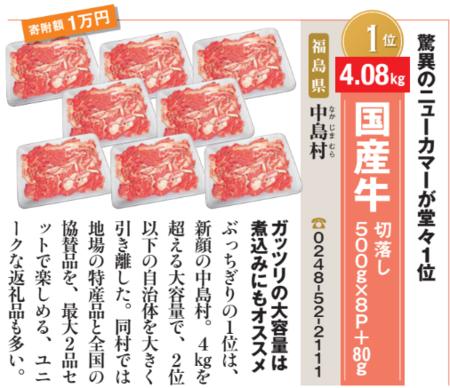 福島県中島村「国産牛 切落し500g×8P+80g」