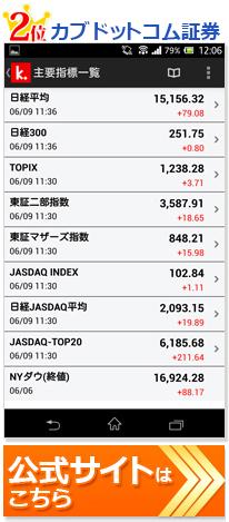カブドットコム証券株アプリ画面