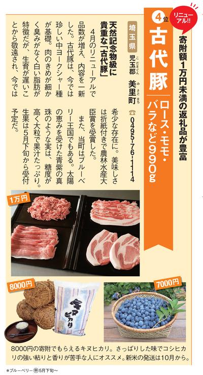 ふるさと納税:埼玉県児玉郡美里町の「古代豚 ロース・モモ・バラなど990g」