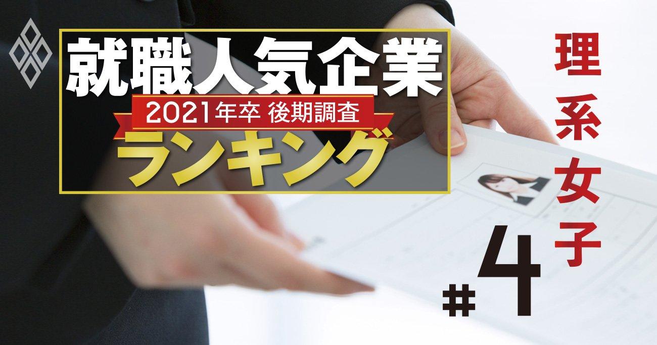 就職人気企業ランキング2020【理系女子・全50社】東京海上1位、食品も人気