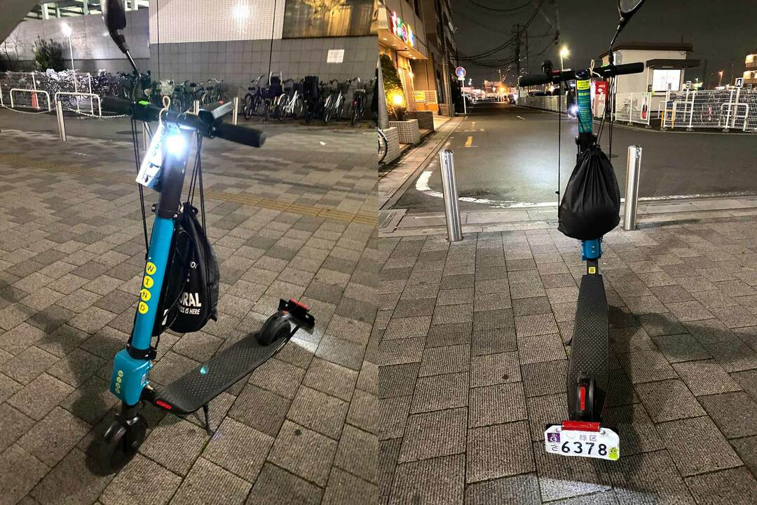 浦和美園駅_キックボードのライト点灯