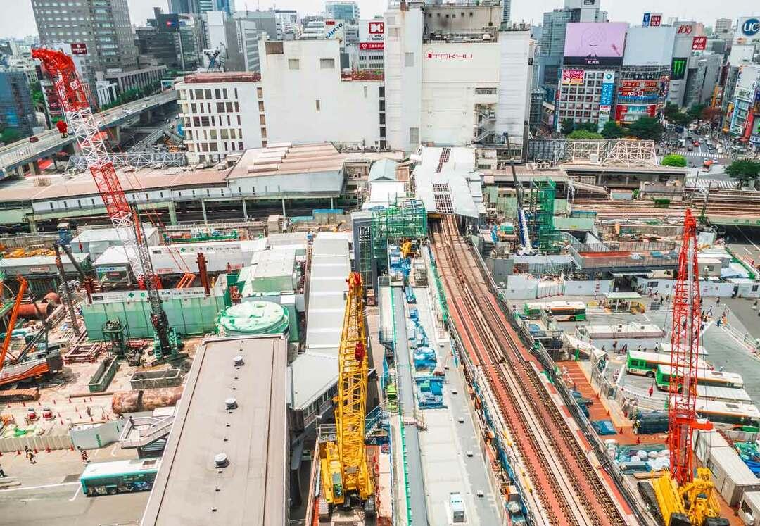 渋谷駅の工事風景