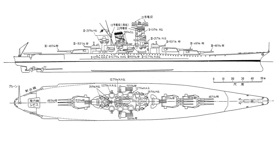 戦艦大和の主砲、副砲は、<br />戦闘力を最大限に考慮した配置だった