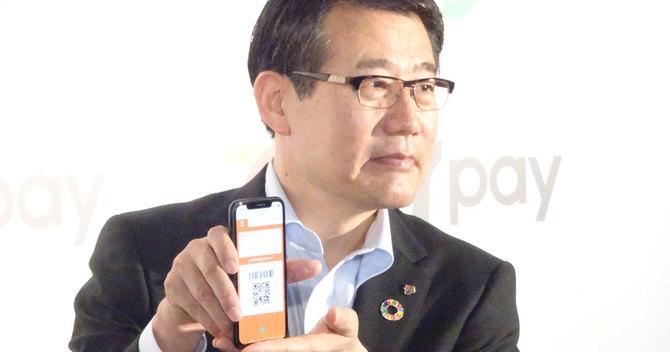 7payをアピールするセブン・イレブン-ジャパンの永松文彦社長